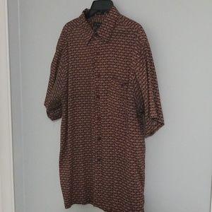 Mens button down rayon shirt, size XL